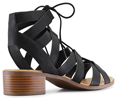 MARCOREPUBLIC Zurich Open Toe Gladiator Chunky Block Stacked Heels Sandals - (Black) - 8.5 by MARCOREPUBLIC (Image #6)