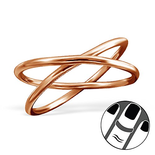 Pro Jewelry 925 Sterling Silver Rose Gold Crossed Rings Above Knuckle Ring Mid Finger Top 6152