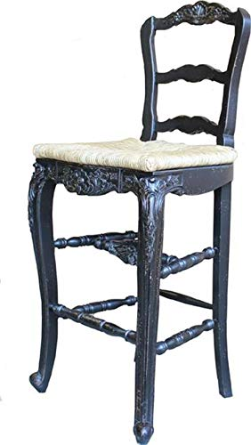 EuroLuxHome Counter Stool French Country Farmhouse Blackwash Wood Carving Hand Rush Seat ()