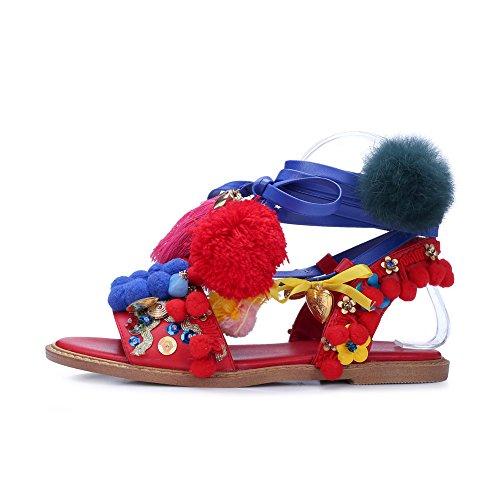 Nine Seven Moda Sandalias de Vestir Planos con Correa de Tobillo y Lentejuelas para Mujer Rojo