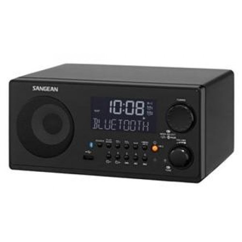 Sangean WR-22BK Tabletop FM-RDS (RBDS)/AM/USB/Bluetooth Digital Radio Receiver, Black, 10 Station Presets (5 FM/5 AM), Easy To Read High Contrast LCD Display With Automatic And Adjustable Backlight, Built-In Bluetooth Wireless Audio Streaming
