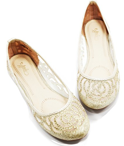 Walstar Damen Basic Glitter Mesh Slip on Schuhe Gold