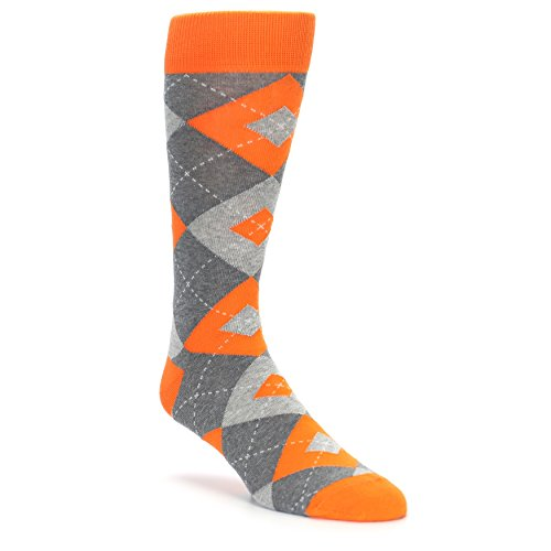 Statement Sockwear Men's Argyle Groomsmen Wedding Socks (Tangerine Orange Grey) (Mens Orange Dress Socks)