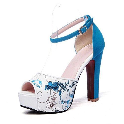 BalaMasa Womens Floral Animal-Print Imitated Leather Sandals Blue OU2bPy6u