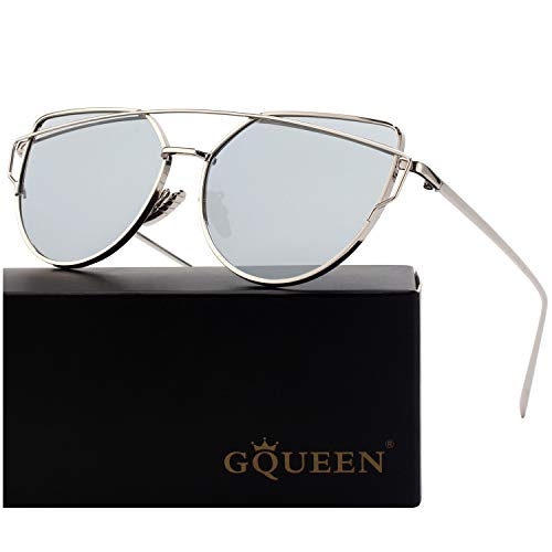 GQUEEN Cat Eye Mirrored Flat Lens Street Fashion Metal Frame Polarized Sunglasses for Women,Silver ()