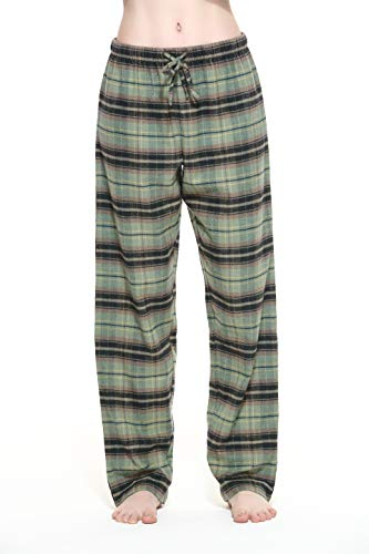 CYZ Women's 100% Cotton Super Soft Flannel Plaid Pajama/Louge Pants-F1603-L
