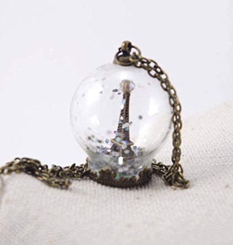 one jewerly Winter Snow Eiffel Tower Glass Globe Necklace Paris Winter Pendants Terrarium Jewelry Bronze Christmas Snow Globe for her One Life