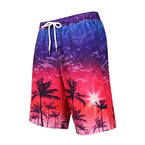 Benficial Fashion Men's Strapped Hawaiian Beach Fit Sport Quick Dry Casual Shorts Pants Red