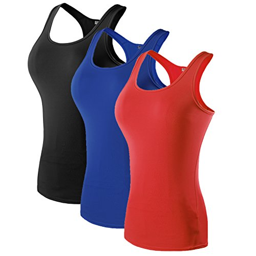 Women's 3 Pack Compression Base Layer Dry Fit Tank Top Black,Blue,Red M ()