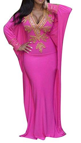 LD Womens Sexy Africa Print V-Neck Long Bat-Wing Sleeve Danshiki Maxi Dress Rose Red 2XS by LD-women clothes