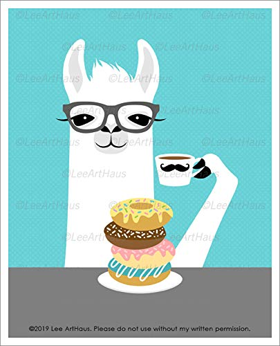 (36J - Hipster Llama Eating Stack of Donuts and Drinking Coffee UNFRAMED Wall Art Print by Lee ArtHaus)