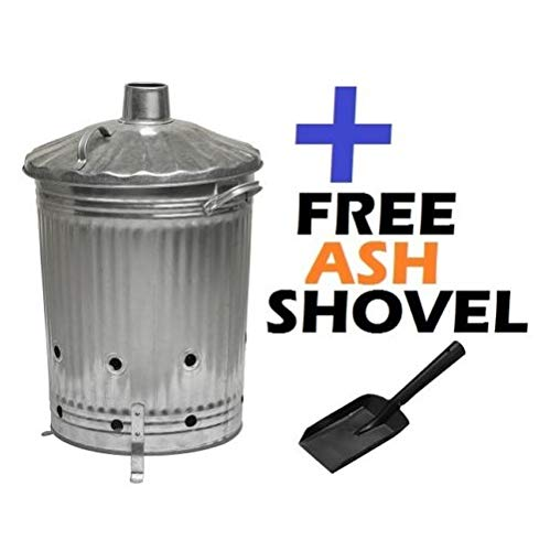 Large 90L Galvanised Steel Incinerator Burning Fire Bin Ideal for burning Rubbish/Paper/Leaves/Documents + FREE Shovel S&MC Gardenware