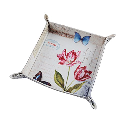 Wall of Dragon 1PC Modern Butterfly Pink Flower French Country Style Music Note PU Leather Valet Coin Key Trinket Tray for Serving