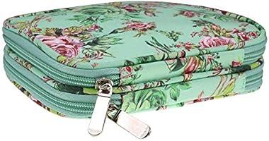 Estuche de agujas de tejer, organizador de viajes de peonía verde Estuche para bolsas de bricolaje Agujas de tejer circulares y agujas de tejer rectas, ganchos de ganchillo y accesorios de tejido: