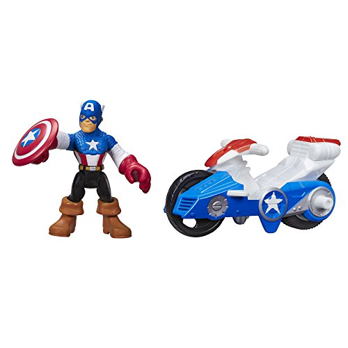 Playskool Heroes Marvel Super Hero Adventures Captain America Figure with Shield Racer Vehicle