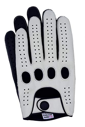 Riparo Genuine Leather Reverse Stitched Full-Finger Driving Gloves (Medium, White/Black) -