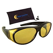 Night Driving Wear Over Glasses by Ideal Eyewear - Fit Over Prescription Glasses - Yellow Lens for Better Night Vision
