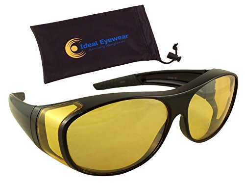 Ideal Eyewear Night Driving Wear Over Glasses Yellow Lens Fit Over Glasses (Black Frame with case, Medium)