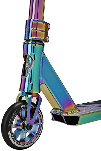Team Dogz Pro X Ultimate Chrome 360 Stunt Scooter With HIC Compression, 110mm Alloy Wheels, Aluminium Bars & Deck in NeoChrome Rainbow (Scooter Clamp Oil Slick)