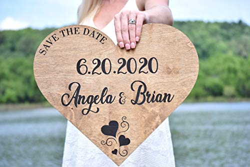 Save the Date Wedding Sign - Wooden Save the Date Sign - Rustic Wedding Decor - Engagement Photo Prop - Engagement Sign Heart Save The Date