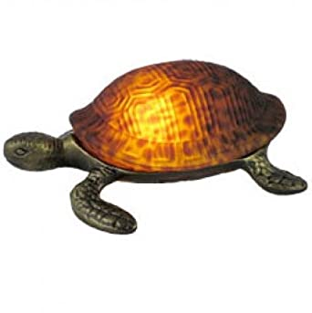 Pretty Amber Glass Turtle Table Lamp 1030