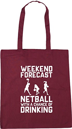 HippoWarehouse Weekend Forecast Netball with a Chance of Drinking Tote Shopping Gym Beach Bag 42cm x38cm, 10 litres Burgundy