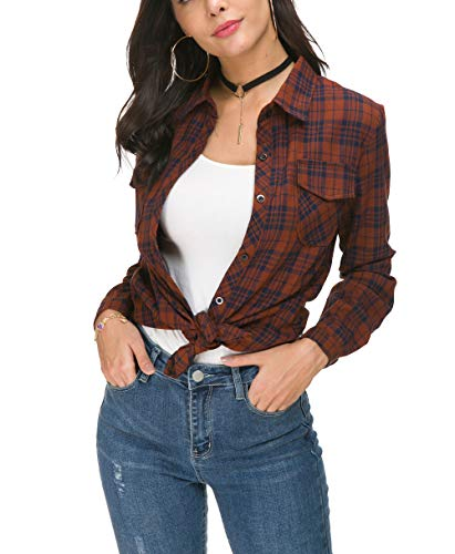 NuoReel Womens Casual Plaid Soft Button Up Tops 3/4 Long Sleeve Cuffed Blouse Shirts (X-Large Brown)