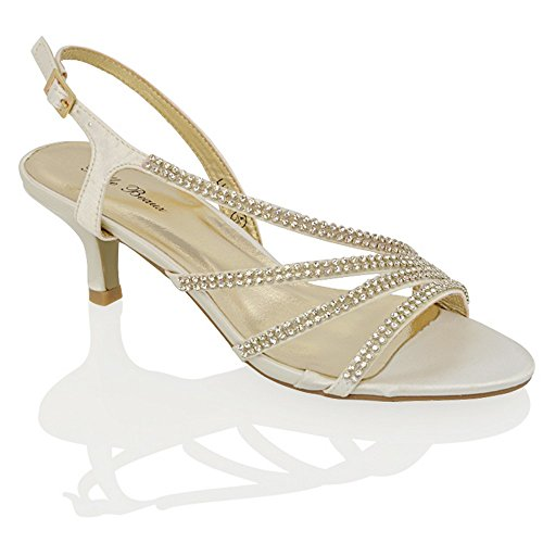 ESSEX GLAM Womens Mid Heel Diamante Bridal Ivory Satin Party Evening Sandals 7 B(M) US