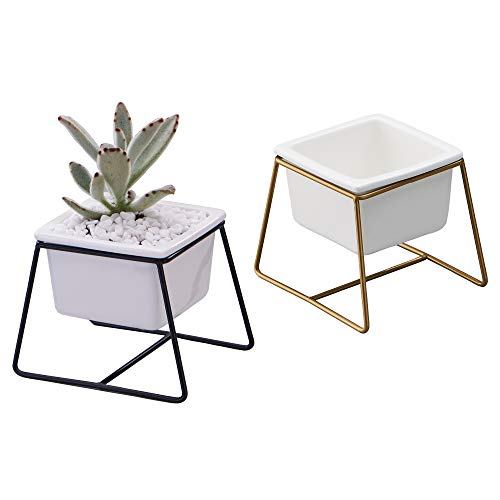 Planter Pots Indoor, Flowerplus 2 Pack 3.5 Inch Decorative White Ceramic Small Square Succulent Cactus Flower Plant Pot with Metal Stand Holder for Indoors Outdoor Home Garden Kitchen Decor ()