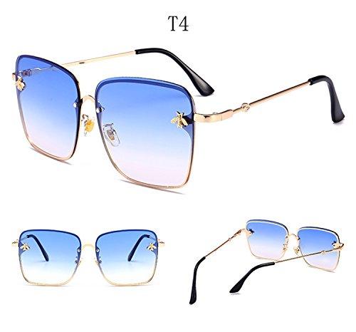 UV400 de la sol Moda gran tamaño ATNKE abeja cuadradas de lente de con gafas de mujeres protección de metal decoración reflectante gafas marco HD T4 hombres para AxE7BqwxU