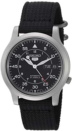 Seiko Men SNK809 Seiko 5 Automatic Stainless Steel Watch with Black Canvas Strap