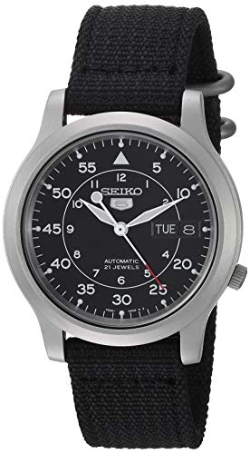 (Seiko Men's SNK809 Seiko 5 Automatic Stainless Steel Watch with Black Canvas Strap)
