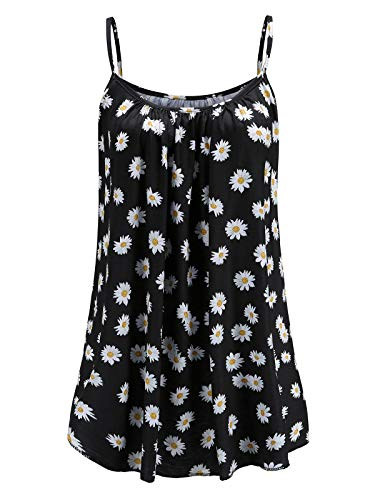 Womens Plus Size Cami Basic Camisole Tank Top (White Daisy,3X)