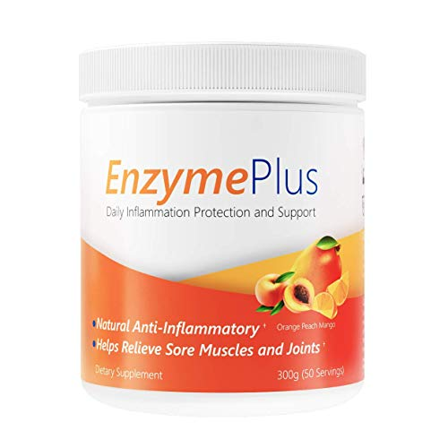 EnzymePlus - Natural Anti-Inflammatory, Sore Muscle and Joint Relief, Chronic Inflammation Support - 300 Grams (50 Servings) (Orange Peach Mango) (Inflammatory Anti Homeopathic)