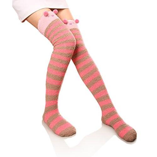 Hot DoSmart Womens Soft Warm Knee High Stockings Animal Stripe Fuzzy Socks for cheap