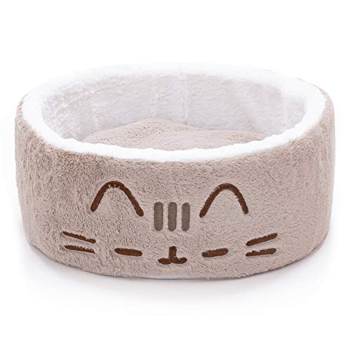 Pusheen Sleepy Face Cuddling Grey Cat Bed, 18' L X 18' W X 6.5' H, One Size Fits All, Gray/White