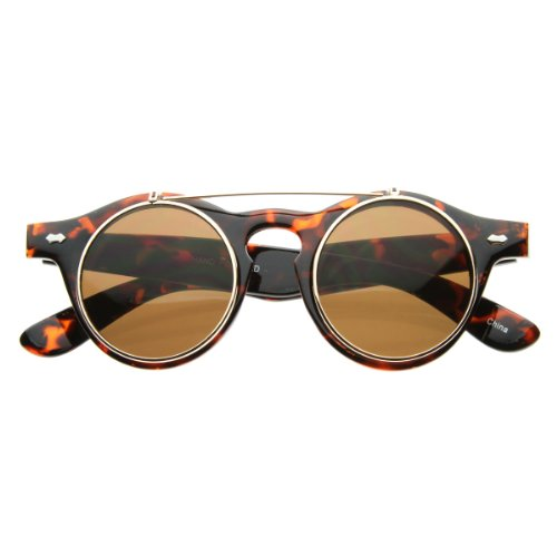 76d522434d83 MLC Vintage Retro Steampunk Costume Round Circle Flip Up UV400 Lens  Sunglasses -Tortoise (B007JZCFHK)