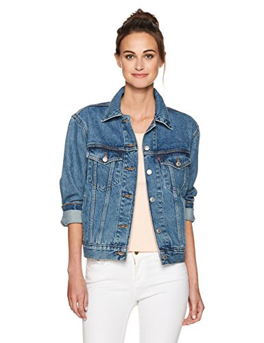 Levi's Women's Ex-Boyfriend Trucker Jacket's, Concrete Indigo, (Plaid Crop Jacket)