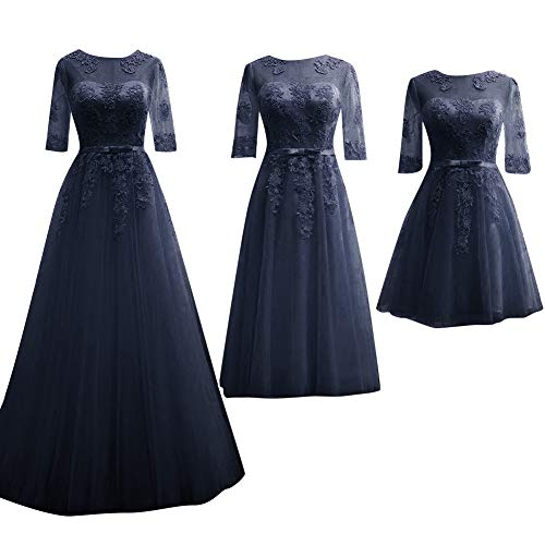 Hsd Bridesmaid Dresses Half Sleeves Formal Evening Party Dress Short Navy Blue 4