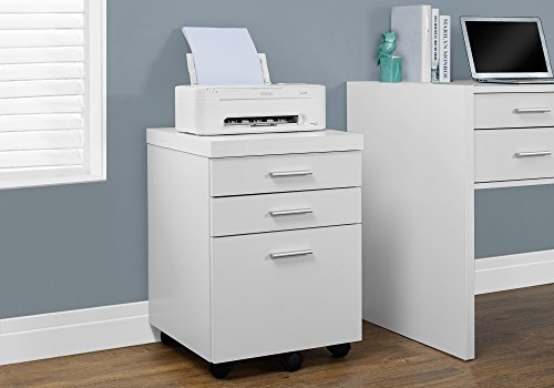 Monarch Specialties White Hollow-Core 3 Drawer File Cabinet on Castors
