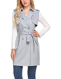 00b8773766c Women s Trench Coat Vest Double Breasted Sleeveless Blazer Jacket with Belt
