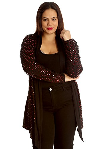 New Ladies Plus Size Cardigan Womens Polka Dot Foil Open Front Jacket Party Sale Nouvelle Collection Red