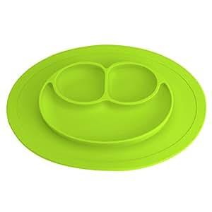 Platos de Silicona Alimentaria de Buena Calidad para Bebé y Niño Vajilla Placa Antideslizante con Compartimientos M Verde