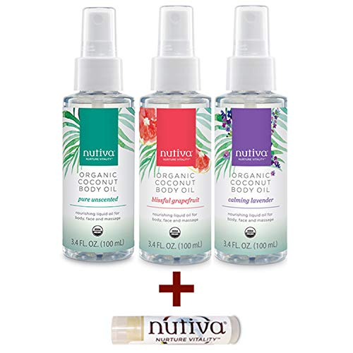 Nutiva Organic & Hydrating Coconut Body Oil Variety Pack - Unscented, Lavender and Grapefruit + Lip Balm