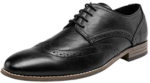 (JOUSEN Men's Oxford Classic Brogue Formal Dress Shoes(9.5,Black))