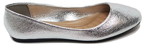 Walstar Womens Ballerina Ballet Flat Shoes Solids & Glitter Shimmer Glitter-silver PQ676Pf