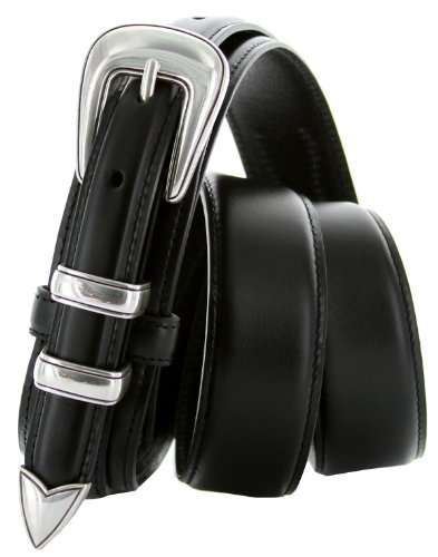 8622 Sterling Silver Plated Buckle Set Oil Tanned Leather Ranger Belt for Men (36, Black) (Plated Leather)