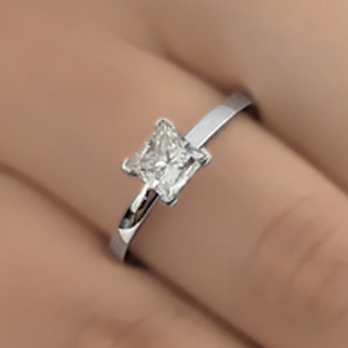 Palladium Princess Ring - Princess Cut Moissanite Engagement Ring 14k White Gold Palladium Platinum Solitaire Handmade Diamond Ring Anniversary Ring Forever One