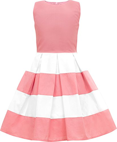 BlackButterfly Kids 'Lilly' Vintage Striped 50's Children's Girls Dress (Pink, 7-8 YRS)