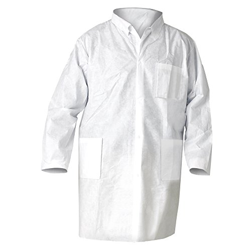 Kimtech A8 Certified Lab Coats with Knit Cuffs and Collar (10024), Protective 3-Layer SMS Fabric, Knit Collar & Cuffs, Unisex, White, 2XL, 25 / Case by Kimberly-Clark (Image #3)